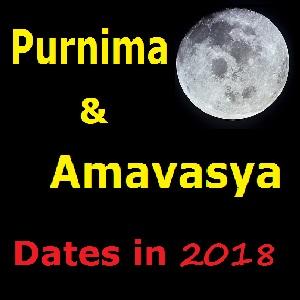 Purnima in October 2018, Purnima Date in October 2018